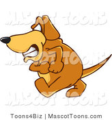 Mascot Vector Cartoon of a Brown Dog Mascot Cartoon Character with an Angry Grumpy Expression While Marching by Toons4Biz