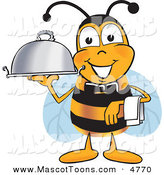 Mascot Vector Cartoon of a Bumble Bee Mascot Cartoon Character Dressed As a Servant, Carrying a Food Platter by Toons4Biz