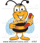 Mascot Vector Cartoon of a Bumble Bee Mascot Cartoon Character Holding and Pointing to a Telephone by Toons4Biz