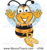 Mascot Vector Cartoon of a Bumble Bee Mascot Cartoon Character Jumping with His Arms up by Toons4Biz