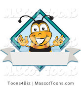 Mascot Vector Cartoon of a Bumble Bee Mascot Cartoon Character on a Blank White Label by Toons4Biz