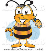 Mascot Vector Cartoon of a Bumble Bee Mascot Cartoon Character Peeking Through a Magnifying Glass by Toons4Biz
