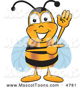 Mascot Vector Cartoon of a Bumble Bee Mascot Cartoon Character Waving and Pointing to the Right by Toons4Biz