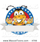 Mascot Vector Cartoon of a Bumble Bee Mascot Cartoon Character with Stars on a Blank LabelBumble Bee Mascot Cartoon Character with Stars on a Blank Label by Toons4Biz