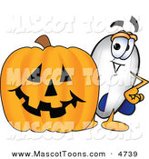 Mascot Vector Cartoon of a Cheerful Blimp Mascot Cartoon Character with a Carved Halloween Pumpkin by Toons4Biz