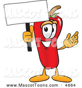 Mascot Vector Cartoon of a Cheerful Chili Pepper Mascot Cartoon Character Holding a Blank White Sign by Toons4Biz