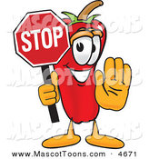 Mascot Vector Cartoon of a Cheerful Chili Pepper Mascot Cartoon Character Holding a Stop Sign by Toons4Biz