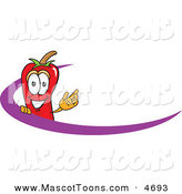 Mascot Vector Cartoon of a Cheerful Chili Pepper Mascot Cartoon Character Logo with a Purple Dash by Toons4Biz