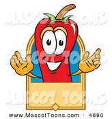 Mascot Vector Cartoon of a Cheerful Chili Pepper Mascot Cartoon Character with a Blank Tan Label by Toons4Biz