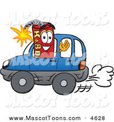 Mascot Vector Cartoon of a Cheerful Dynamite Mascot Cartoon Character Driving a Blue Car by Toons4Biz