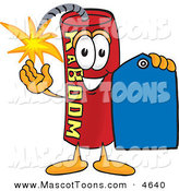 Mascot Vector Cartoon of a Cheerful Dynamite Mascot Cartoon Character Holding a Blue Sales Price Tag by Toons4Biz