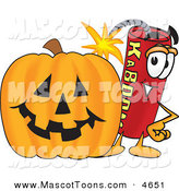Mascot Vector Cartoon of a Cheerful Dynamite Mascot Cartoon Character with a Halloween Pumpkin by Toons4Biz