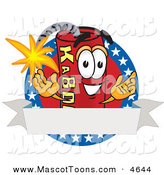 Mascot Vector Cartoon of a Cheerful Dynamite Mascot Cartoon Character with Stars and a Blank Ribbon Label by Toons4Biz