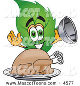 Mascot Vector Cartoon of a Cheerful Leaf Mascot Cartoon Character Serving a Thanksgiving Turkey on a Platter by Toons4Biz