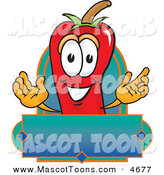 Mascot Vector Cartoon of a Cheerful Red Chili Pepper Mascot Cartoon Character with a Blank Label by Toons4Biz