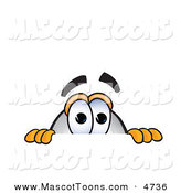 Mascot Vector Cartoon of a Curious Blimp Mascot Cartoon Character Scared and Peeking over a Surface by Toons4Biz