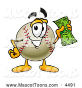 Mascot Vector Cartoon of a Cute Baseball Mascot Cartoon Character Holding a Dollar Bill by Toons4Biz