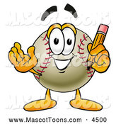 Mascot Vector Cartoon of a Cute Baseball Mascot Cartoon Character Holding a Pencil by Toons4Biz