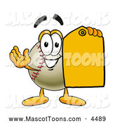 Mascot Vector Cartoon of a Cute Baseball Mascot Cartoon Character Holding a Yellow Sales Price Tag by Toons4Biz