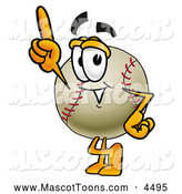 Mascot Vector Cartoon of a Cute Baseball Mascot Cartoon Character Pointing Upwards by Toons4Biz