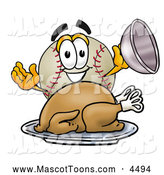 Mascot Vector Cartoon of a Cute Baseball Mascot Cartoon Character Serving a Thanksgiving Turkey on a Platter by Toons4Biz