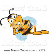 Mascot Vector Cartoon of a Cute Bee Mascot Cartoon Character Resting His Face on His Hand by Toons4Biz