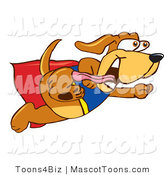 Mascot Vector Cartoon of a Cute Brown Dog Mascot Cartoon Character Dressed As a Super Hero, Flying by Toons4Biz