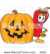 Mascot Vector Cartoon of a Cute Chili Pepper Mascot Cartoon Character Standing with a Carved Halloween Pumpkin by Toons4Biz