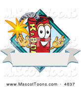 Mascot Vector Cartoon of a Cute Red Dynamite Mascot Cartoon Character with a Blank Ribbon Label by Toons4Biz