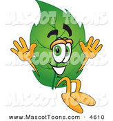 Mascot Vector Cartoon of a Eco Friendly Leaf Mascot Cartoon Character Jumping by Toons4Biz