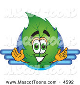 Mascot Vector Cartoon of a Eco Friendly Leaf Mascot Cartoon Character Logo with Blue Lines by Toons4Biz