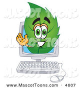 June 11th, 2013: Mascot Vector Cartoon of a Eco Friendly Leaf Mascot Cartoon Character on a Computer Screen by Toons4Biz