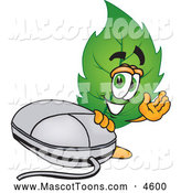 Mascot Vector Cartoon of a Eco Friendly Leaf Mascot Cartoon Character Standing by a Computer Mouse by Toons4Biz