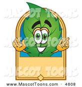 June 10th, 2013: Mascot Vector Cartoon of a Eco Friendly Leaf Mascot Cartoon Character with a Blank Tan Label by Toons4Biz