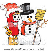 Mascot Vector Cartoon of a Festive and Happy Chili Pepper Mascot Cartoon Character with a Snowman on Christmas by Toons4Biz