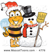 Mascot Vector Cartoon of a Festive Bumblebee Mascot Cartoon Character with a Snowman on Christmas by Toons4Biz