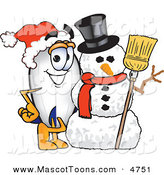 Mascot Vector Cartoon of a Festive White Blimp Mascot Cartoon Character with a Snowman by Toons4Biz