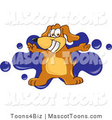 Mascot Vector Cartoon of a Friendly and Smiling Brown Dog Mascot Cartoon Character with Open Arms over a Blue Splatter by Toons4Biz