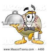 Mascot Vector Cartoon of a Friendly Baseball Mascot Cartoon Character Dressed As a Waiter and Holding a Serving Platter by Toons4Biz