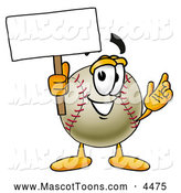 Mascot Vector Cartoon of a Friendly Baseball Mascot Cartoon Character Holding a Blank Sign by Toons4Biz