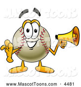 Mascot Vector Cartoon of a Friendly Baseball Mascot Cartoon Character Holding a Megaphone by Toons4Biz