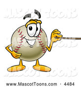 Mascot Vector Cartoon of a Friendly Baseball Mascot Cartoon Character Holding a Pointer Stick by Toons4Biz