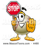 Mascot Vector Cartoon of a Friendly Baseball Mascot Cartoon Character Holding a Stop Sign by Toons4Biz