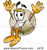 Mascot Vector Cartoon of a Friendly Baseball Mascot Cartoon Character Jumping by Toons4Biz