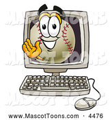 Mascot Vector Cartoon of a Friendly Baseball Mascot Cartoon Character Waving from Inside a Computer Screen by Toons4Biz