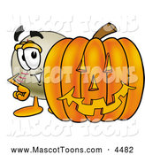 Mascot Vector Cartoon of a Friendly Baseball Mascot Cartoon Character with a Carved Halloween Pumpkin by Toons4Biz