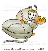 Mascot Vector Cartoon of a Friendly Baseball Mascot Cartoon Character with a Computer Mouse by Toons4Biz