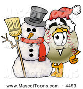 Mascot Vector Cartoon of a Friendly Baseball Mascot Cartoon Character with a Snowman on Christmas by Toons4Biz