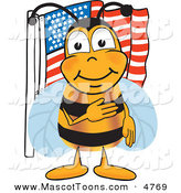 Mascot Vector Cartoon of a Friendly Bee Mascot Cartoon Character Giving the Pledge of Allegiance near an American Flag by Toons4Biz