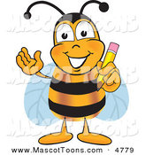 September 29th, 2012: Mascot Vector Cartoon of a Friendly Bee Mascot Cartoon Character Holding a Pencil by Toons4Biz